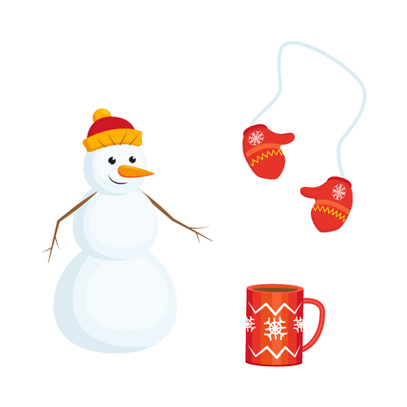 A Vector cartoon winter symbols icon set. Knitted mittens, snowman in scarf, party hat . Isolated illustration on a white background. Christmas, new year holiday objects.