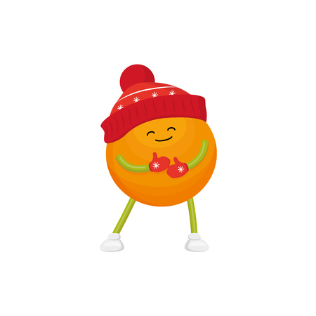 Vector cartoon winter fruit character - happy orange in outdoor hats, boots, mittens standing with closed eyes. Isolated illustration white background. New year christmas poster design element 向量圖像