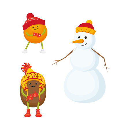 Vector flat winter fruit character - happy orange in outdoor hat, boots, mittens, snowman in hat, freezing kiwi in exotic hat Isolated illustration white background. New year christmas poster design Ilustracja