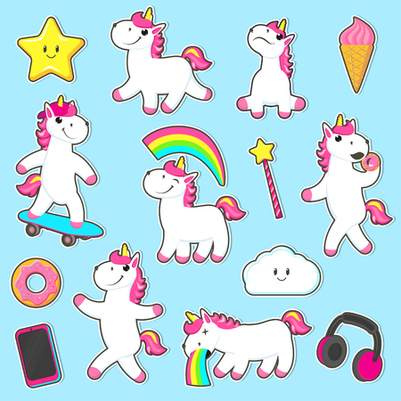 Set of stickets with unicorns sitting, standing, skating, eating donuts, vomiting rainbow, flat cartoon vector illustration isolated on white background. Big set of rainbow unicorn character stickers