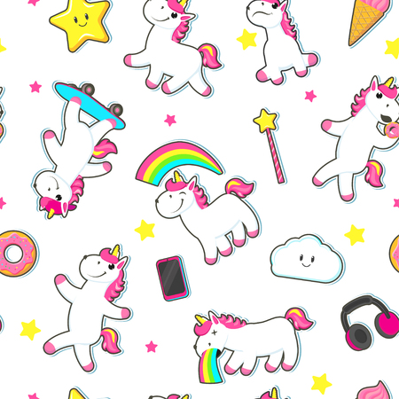 Seamless pattern, backdrop with cute unicorn characters, stars and rainbows, flat cartoon vector illustration on white background. Rainbow unicorns, rainbow, ice cream, stars, clouds seamless pattern