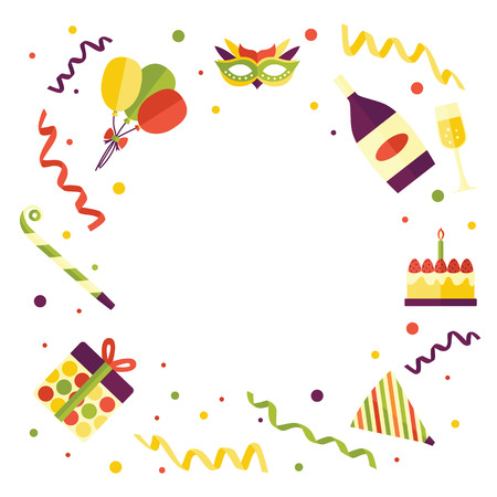 Frame of flat birthday party objects - cake, balloons, present box, champagne, hat, horn, vector illustration isolated on white background. Round frame of birthday party items with empty space inside