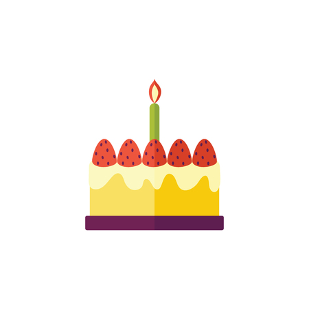 Vector flat birthday celebration symbol - birthday cake with candle icon. Festive sweet food element. Isolated illustration on a white background