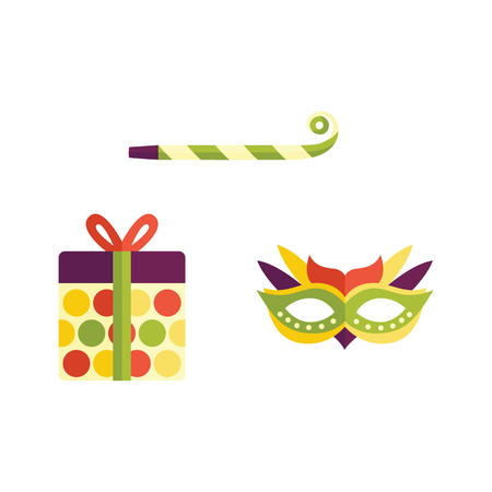 Vector flat birthday celebration symbols icon set. Festive, decorated party mask, present box in bright wrapping, party whistle, noisemaker or blower. Isolated illustration on a white background Illustration