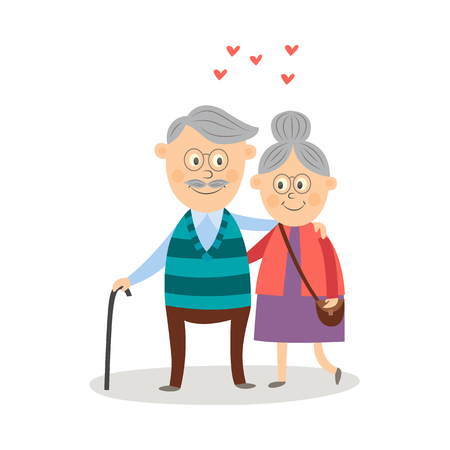 Elderly couple in love dating at Valentines day vector icon. Cartoon grey-haired characters in casual clothing with cane embarrassing expressing care positive emotion isolated illustration, white background.