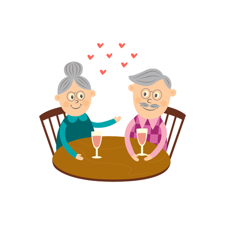 Elderly couple in love dating at Valentines day. Cartoon gray-haired characters celebrating their love sitting at restaurant drinking wine from glass isolated illustration, white background.