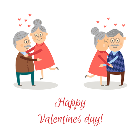 Elderly couple in love dating Valentines day vector set. Cartoon characters, woman kissing man in cheek, man holding woman on hands isolated illustration on a white background.