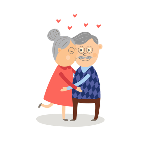 Vector elderly couple in love dating at valentines day. Cartoon grey-haired characters in casual clothing embrasing, woman kissing man in cheek. Isolated illustration, white background Illusztráció