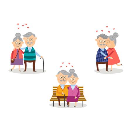Vector pareja de ancianos en el amor que data día de San Valentín conjunto. Personajes de dibujos animados celebrando su amor sentado en el restaurante bebiendo vino, abrazándose, besándose en el banco de la calle. Ilustración aislada Ilustración de vector