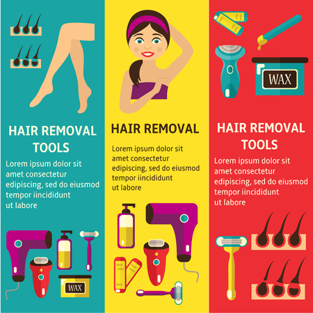 vector flat hair removal banners set. Electric epilator, shaver, shaving razor, waxing strips, hot wax in bowl laser machine, well-groomed woman legs, girl with epilated armpit icons illustration. Imagens - 93775229