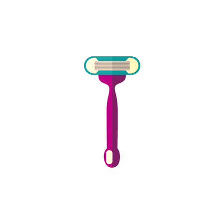 Disposable shaving razor with narrow handle, hair removal tool, flat style icon, vector illustration isolated on white background. Flat icon of traditional disposable lady shaving razor Çizim