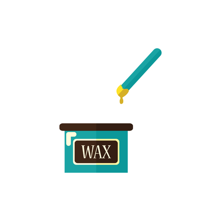 Waxing stick and wax in jar, hair removal, depilation tools, flat style icon, vector illustration isolated on white background. Flat icon of wax and stick, waxing depilation concept