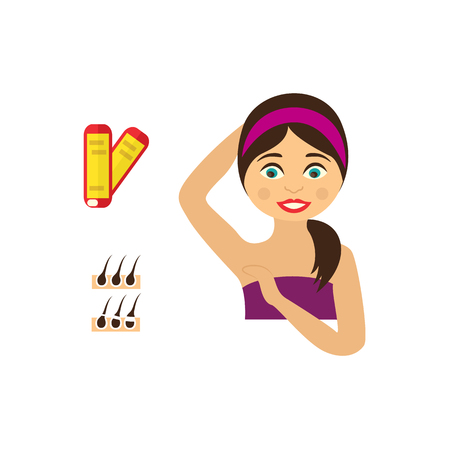 Vector flat girl in pink towel showing clean epilated armpit. Hair removal tools, armpit epilation concept and wax strips, follicle icon. Isolated illustration on a white background. Ilustração