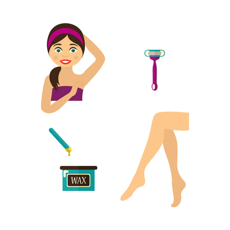Vector flat hair removal tools. Shaving razor, hot wax in bowl, well-groomed woman legs, girl with epilated armpit icons. Isolated illustration on white background.