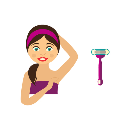Vector flat girl in pink towel showing clean epilated armpit. Hair removal, armpit epilation concept and shave icon. Isolated illustration on a white background.