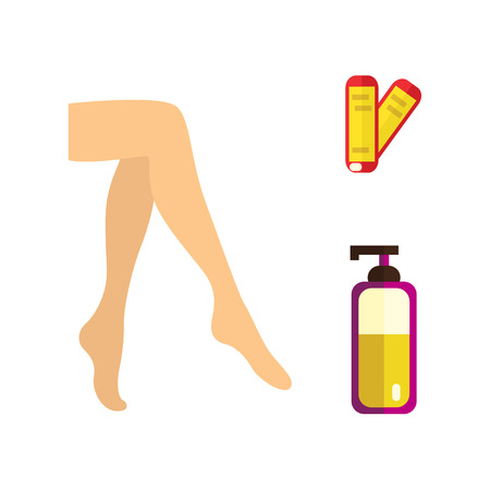 vector flat hair removal tools. Hot wax in bowl, well-groomed woman legs, bottle with after shaving lotion, skin care cosmetic cream icons. Isolated illustration on white background.