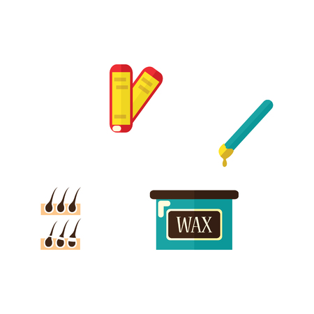 Vector flat shaving, hair removal, epilation and depilation tools icon set. Wax strips and hot wax bowl, hair follicle. Isolated illustration on a white background. Ilustração