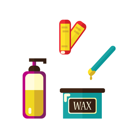 Vector flat shaving, hair removal, epilation and depilation tools icon set. Wax strips and hot wax bowl, skin cream, lotion. Isolated illustration on a white background.