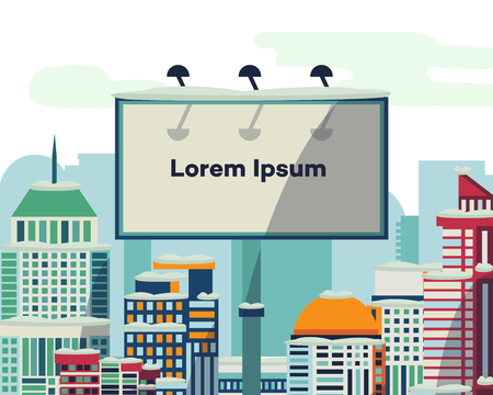 Advertising billboard with place for text in front of modern buildings, city, urban cityscape, flat style vector illustration. Downtown city, modern buildings, skyline and billboard