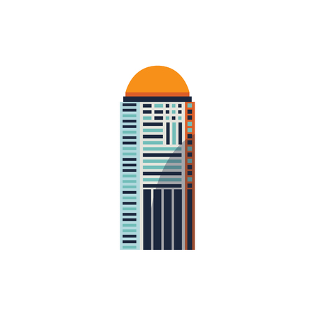 Flat style skyscraper, business center, high rise building with round top, vector illustration isolated on white background. 向量圖像