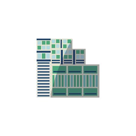 플랫 벡터 스타일 스카이 스크 래퍼, 비즈니스 센터, 고층 빌딩 라운드 위에, 흰색 배경에 고립 된 벡터 일러스트 레이 션. 플랫 고층 건물, 스카이 스크