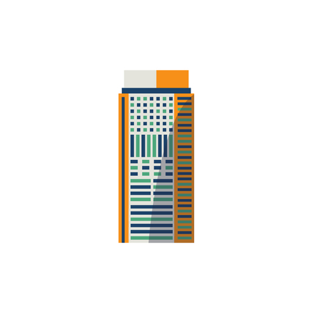 Flat style skyscraper, business center, high rise building with round top, vector illustration isolated on white background. Flat high rise building, sky scraper, business center, rounded roof 向量圖像