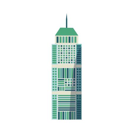フラットスタイルの超高層ビル、ビジネスセンター、丸いトップ付き高層ビル、白い背景に隔離されたベクトルイラスト。平らな高層ビル、スカイ