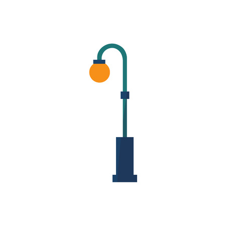 A Vector cartoon street light icon. Lamppost, retro elegant decorated metal lantern for web design. Street illumination, electricity object. Isolated illustration, white background.