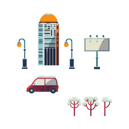 A Vector flat urban landscape background design element set. Streetlight, lamppost or lantern, car vehicle, blank billboard, office business scyscraper, residental building, trees, isolated illustration
