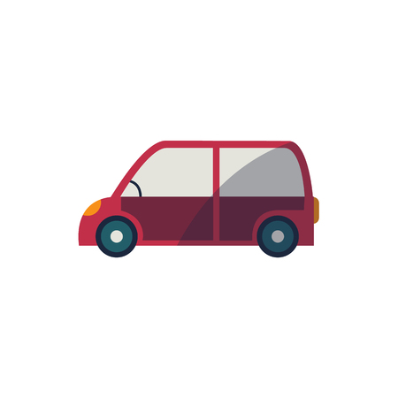 A vector cartoon funny stylized red colored mini van car side view. Isolated illustration on a white background. Road motor vehicle transport. Illustration