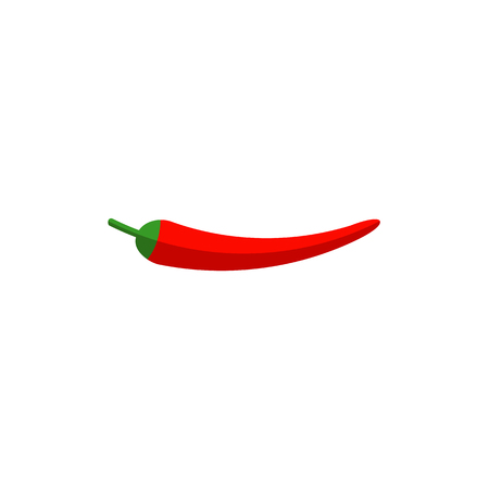 Single fresh whole red chili pepper, flat style icon, vector illustration isolated on white background. Flat style icon of whole red chili pepper in horizontal position Illustration