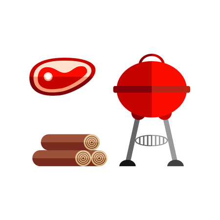 Round red BBQ, barbecue, charcoal grill, meat steak and wood chunks, flat style vector illustration isolated on white background. Flat set of round BBQ grill, meat steak and pile of wood chunks Illustration