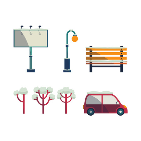 A Vector cartoon urban landscape background design elements icon set. Passenger car vehicle, blank billboard, park trees with different crown, streetlight, bench. Isolated illustration white background