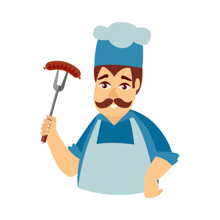 Happy man in chef hat and apron holding fork with sausage, flat cartoon vector illustration isolated on white background. Half length portrait of smiling Caucasian chef in hat and apron