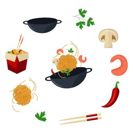 벡터 플랫 아시아 wok 기호 집합. 종이 상자, 큰 왕 새우, 칠리 고추, 스틱, 파 슬 리, 버섯, 냄비에 우동 국수. 튀김 튀김 동부 패스트 푸드 아이콘 메뉴  일러스트