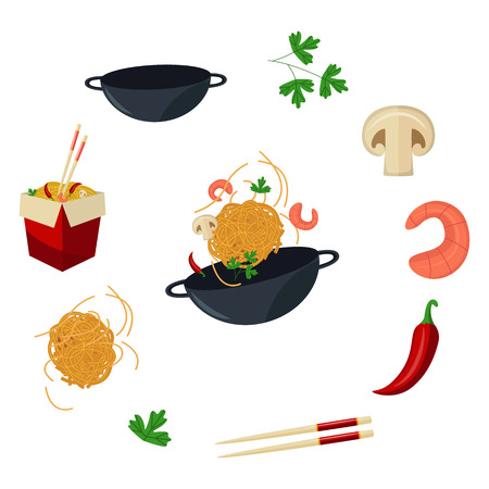 Vector flat Asian wok symbols set. Udon noodles in paper box, large royal shrimp, chili pepper, sticks, parsley, mushroom, pan. Stir fry eastern fast food icons for menu design. Isolated illustration.
