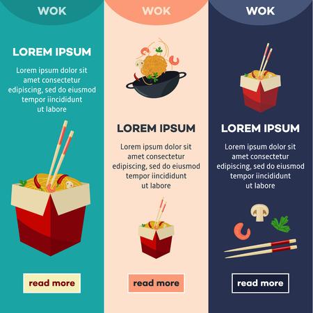 Vector flat Asian wok illustration banners, posters set. Udon noodles in paper box, large royal shrimp, chili pepper, sticks, parsley, mushroom, pan. Stir fry eastern fast food icons for menu design.