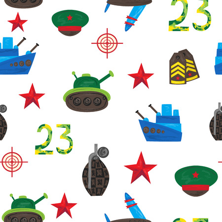 Vector flat army, military, 23 of February, Russian Defender of the Fatherland Day seamless pattern. military warship boat, shoulder straps, peakless cap red star tank, aircraft. Isolated illustration.