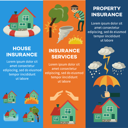 Vector house insurance infographic posters set. House, property insurance, insurance services. Vettoriali
