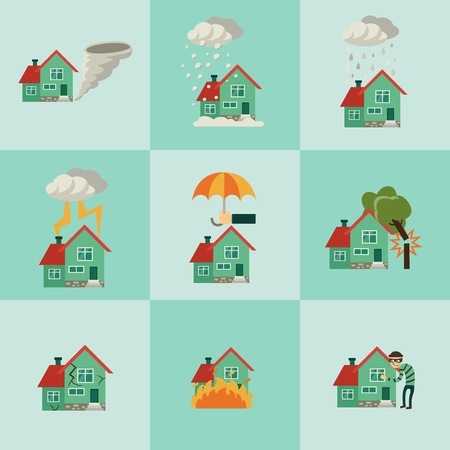 Vector flat house insurance concepts set. House being damaged by robbery, wind, rain, lighting fire, snow, tornado hurricane or whirlwind, by flood and falling tree. Illustration