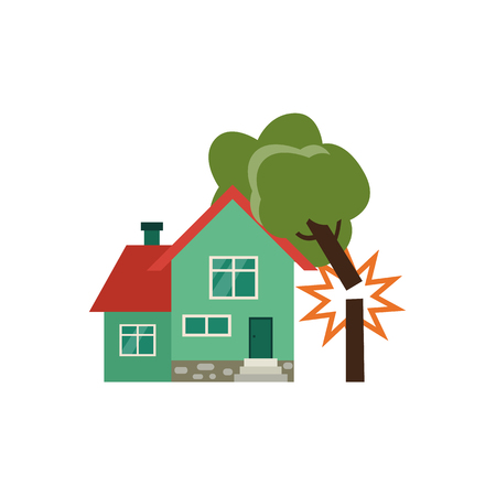 Broken tree falling on two-storied cottage house, property insurance icon, flat vector illustration isolated on white background. Çizim