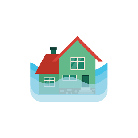 Vector flat house insurance concept. House being damaged by flood. Natural disaster insurance scene. Isolated illustration on a white background.