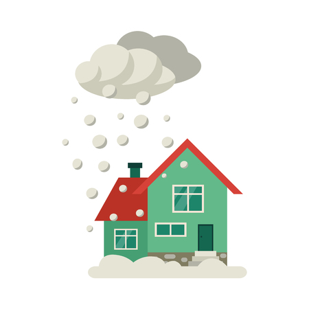 Vector flat house insurance concept. House being damaged by snowfall. Natural disaster insurance scene. Isolated illustration on a white background. Ilustração