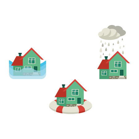 Vector flat house insurance concept set. Private house being protecting from flood disasters by inflatable ring, damaged by snowfall, flood. Natural disaster insurance. Isolated illustration.
