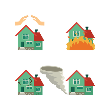 Vector flat house insurance concept set. House being damaged by tornado wind hurricane or whirlwind, earthquake, fire, hands protecting house. Natural disaster insurance scenes. Isolated illustration