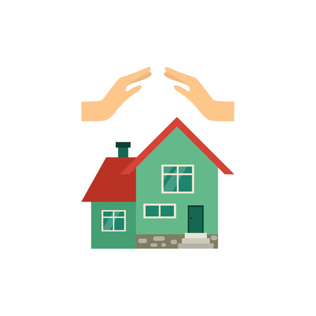 Vector flat house insurance concept. Private house being protecting from disasters by hands making roof. Natural disaster, robbery insurance scenes. Isolated illustration on a white background