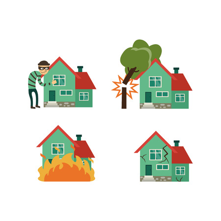 Vector flat house insurance concept set. House being damaged by fire falling tree, earthquake and robbery. Natural disaster insurance scenes. Isolated illustration on a white background.
