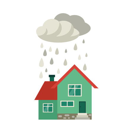 Vector flat house insurance concept. House being damaged by wind, pouring rain. Natural disaster insurance scene. Isolated illustration on a white background.