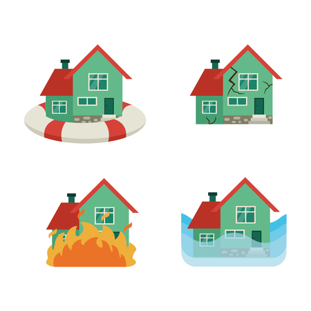 Vector flat house insurance concept set. Private house being protecting from flood disasters by inflatable ring, damaged by fire, flood, earthquake. Natural disaster insurance. Isolated illustration.
