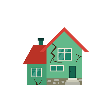 Vector flat house insurance concept. House being damaged by earthquake. Natural disaster insurance scene. Isolated illustration on a white background